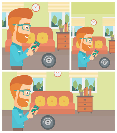 controlling: Young hipster with the beard man controlling robotic vacuum cleaner with his smartphone in the living room. Vector flat design illustration. Square, horizontal, vertical layouts. Illustration