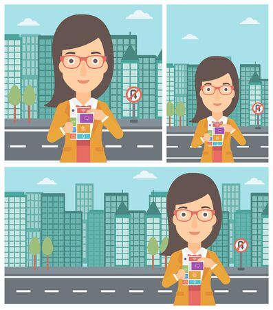 woman on phone: Smiling woman holding modular phone. Young woman with modular phone standing on a city background. Woman using modular phone. Vector flat design illustration. Square, horizontal, vertical layouts.