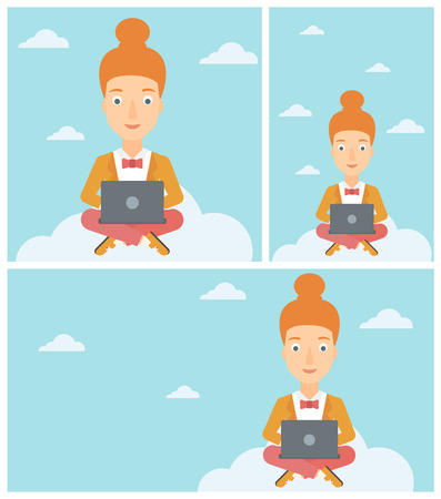 young woman sitting: Young woman sitting on a cloud with a laptop on her knees. Happy woman using cloud computing technology. Cloud computing concept. Vector flat design illustration. Square, horizontal, vertical layouts. Illustration