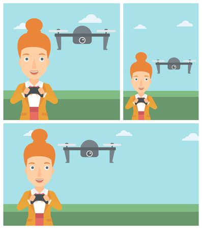 controling: Young woman flying drone with remote control. Happy woman operating a drone with remote control. Woman controling a drone. Vector flat design illustration. Square, horizontal, vertical layouts. Illustration