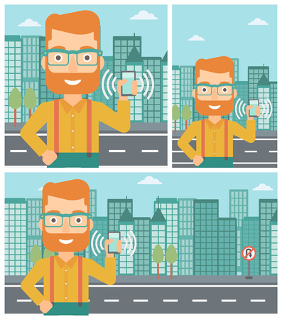ringing: Hipster man holding ringing mobile phone on a city background. Man answering a phone call. Man with ringing phone in hand. Vector flat design illustration. Square, horizontal, vertical layouts.