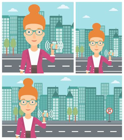 answering phone: Woman holding ringing mobile phone on a city background. Young woman answering a phone call. Woman with ringing phone in hand. Vector flat design illustration. Square, horizontal, vertical layouts. Illustration