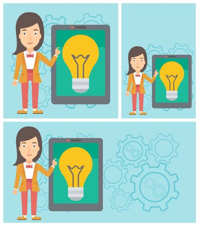 woman tablet: Young woman pointing at a big tablet computer. Woman standing near a big tablet computer with a light bulb on a screen. Vector flat design illustration. Square, horizontal, vertical layouts.