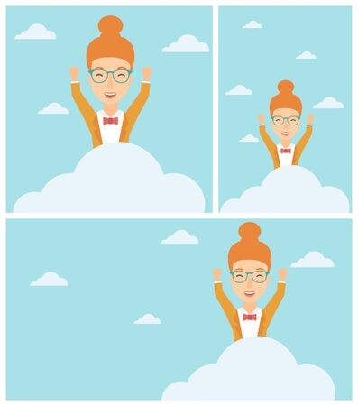 manos levantadas al cielo: Young happy woman with raised hands sitting on a cloud on the background of blue sky. Cloud computing concept. Vector flat design illustration. Square, horizontal, vertical layouts.