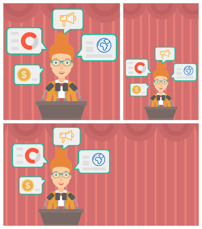 business conference: Speaker standing on a podium with microphones at business conference. Woman giving speech at podium and speech squares around her. Vector flat design illustration. Square, horizontal, vertical layouts Illustration