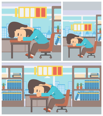 Hipster man sleeping at workplace on laptop keyboard and low power battery sign over his head. Man sleeping in the office. Vector flat design illustration. Square, horizontal, vertical layouts.