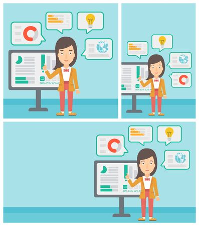 Young business woman pointing at charts on a board during business presentation. Woman giving a business presentation. Business presentation in progress. Vector flat design illustration in the circle.