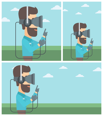 playing video games: Hipster man wearing a virtual reality headset. Man playing video games outdoor. Man wearing gamer gloves. Vector flat design illustration. Square, horizontal, vertical layouts.