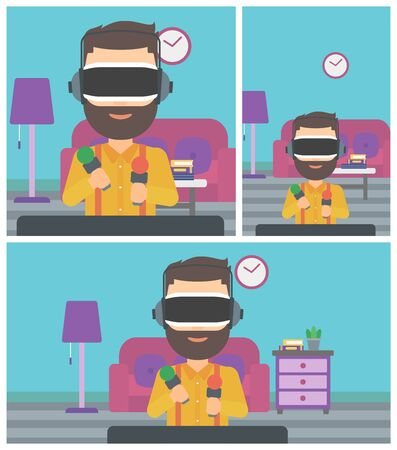 move controller: Young man wearing virtual reality headset and holding motion controllers in hands. Hipster man playing video games in apartment. Vector flat design illustration. Square, horizontal, vertical layouts.