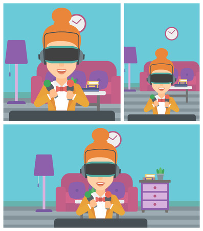 move controller: Young woman wearing a virtual reality headset and holding motion controllers in hands. Woman playing video games in apartment. Vector flat design illustration. Square, horizontal, vertical layouts.