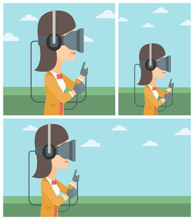 playing video games: Young woman wearing a virtual reality headset. Woman playing video games outdoor. Woman wearing gamer gloves. Vector flat design illustration. Square, horizontal, vertical layouts.