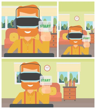 playing video game: Hipster man wearing virtual reality headset and playing video game. Man in virtual reality headset pushing virtual button start. Vector flat design illustration. Square, horizontal, vertical layouts. Illustration