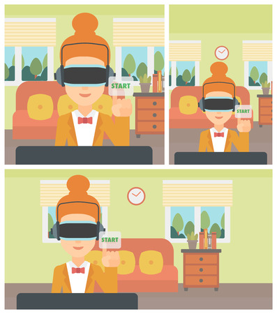 playing video game: Woman wearing a virtual reality headset and playing video game. Woman in a virtual reality headset pushing virtual button start. Vector flat design illustration. Square, horizontal, vertical layouts.