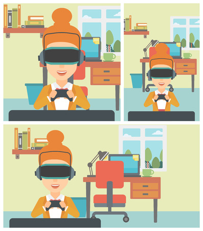 playing video games: Young woman wearing a virtual reality headset. Smiling woman playing video games with a wireless game controller in hands. Vector flat design illustration. Square, horizontal, vertical layouts.