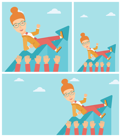hands lifted up: Young business woman get thrown into the air by coworkers during celebration. Successful business concept. Vector flat design illustration. Square, horizontal, vertical layouts.