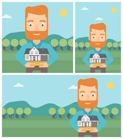 hands holding house: A hipster man with the beard holding house model in hands on the background of mountains. Real estate agent with house model. Vector flat design Illustration. Square, horizontal, vertical layouts.