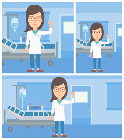hospital gown: Female doctor in medical gown showing finger up while standing on the background of hospital ward. Vector flat design Illustration. Square, horizontal, vertical layouts. Illustration