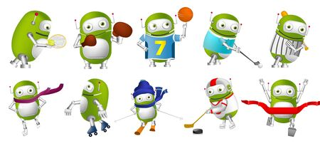 baseball cartoon: Set of cute green robots wearing sports uniform and using sports equipment. Green robots playing hockey, baseball, basketball, golf, tennis, rugby. Vector illustration isolated on white background.