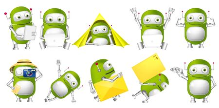 Set of green robots working on laptop and tablet computer. Cute green robots taking photo, lying in tent, holding envelope, showing his muscles. Vector illustration isolated on white background. Stock Photo