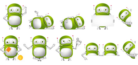 finger up: Set of green robots holding white blank board. Cute robots meditating in lotus pose, knitting a scarf, pushing virtual button, pointing finger up. Vector illustration isolated on white background.