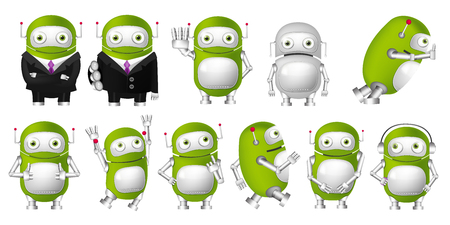 finger up: Set of green robots posing in business suits. Cute robots waving hand, pointing finger up, giving thumbs up, wearing headphones, running, jumping. Vector illustration isolated on white background. Stock Photo