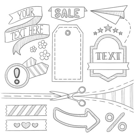 advertisements: Set of vintage labels, ribbons, frames, banners, advertisements and elements. Sale concept. Hand drawn vector sketch illustration on white background.