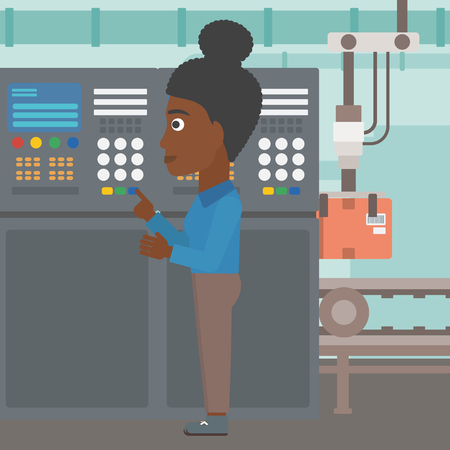 An african-american woman working on control panel. Woman pressing button at control panel in plant. Engineer standing in front of the control panel. Vector flat design illustration. Square layout.