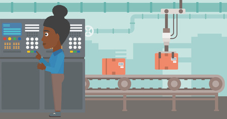 African-american woman working on control panel. Woman pressing button at control panel in plant. Engineer standing in front of the control panel. Vector flat design illustration. Horizontal layout. Ilustração