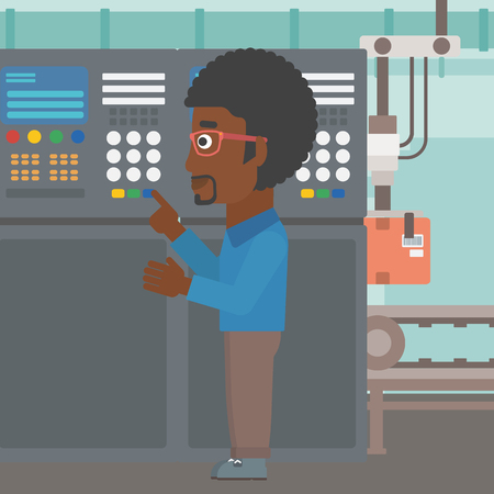 An african-american man working on control panel. Man pressing button at control panel in plant. Engineer standing in front of the control panel. Vector flat design illustration. Square layout. Ilustração