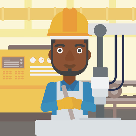 An african-american man working on industrial drilling machine. Man using drilling machine at manufactory. Metalworker drilling at workplace. Vector flat design illustration. Square layout.