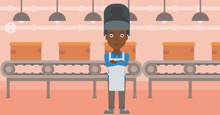 African-american industrial worker with protective welder mask. Welder with arms crossed on the background of factory workshop with conveyor belt. Vector flat design illustration. Horizontal layout.