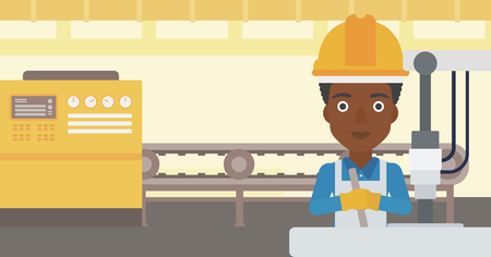 An african-american woman working on industrial drilling machine. Woman using drilling machine at manufactory. Metalworker drilling at workplace. Vector flat design illustration. Horizontal layout. Illustration
