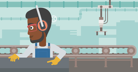 An african-american man working on metal press machine. Worker in headphones operating metal press machine at factory workshop. Vector flat design illustration. Horizontal layout.