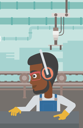 An african-american man working on metal press machine. Worker in headphones operating metal press machine at factory workshop. Vector flat design illustration. Vertical layout.