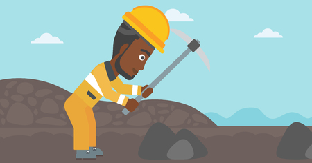 An african-american miner working with a pickaxe. Mine worker in hard hat. Miner at the coal mine. Vector flat design illustration. Horizontal layout. Vettoriali
