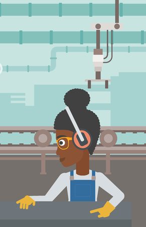 An african-american woman working on metal press machine. Worker in headphones operating metal press machine at workshop. Woman using press machine. Vector flat design illustration. Vertical layout. Ilustração