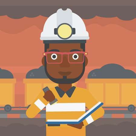 An african-american miner checking documents with the flashlight. Mine worker in hard hat on the background of mining tunnel with cart full of coal. Vector flat design illustration. Square layout.