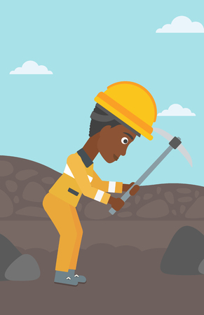 An african-american female miner working with a pickaxe. Mine worker in hard hat. Miner at the coal mine. Vector flat design illustration. Vertical layout. Stock Illustratie