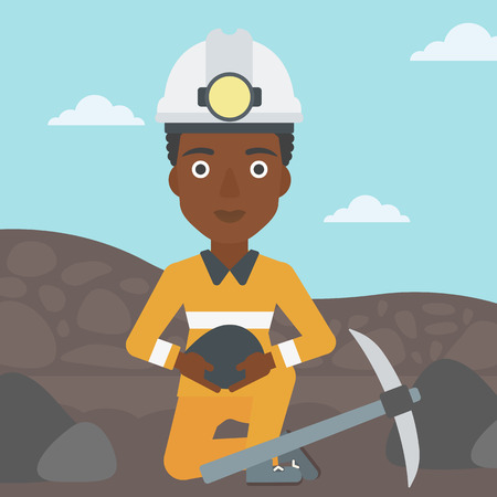 An african-american female miner in hard hat sitting with coal in hands and a pickaxe on the background of coal mine. Vector flat design illustration. Square layout.