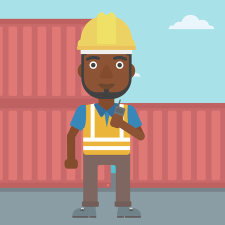 An african-american port worker talking on wireless radio. Port worker standing on cargo containers background. Man using wireless radio. Vector flat design illustration. Square layout. Illustration