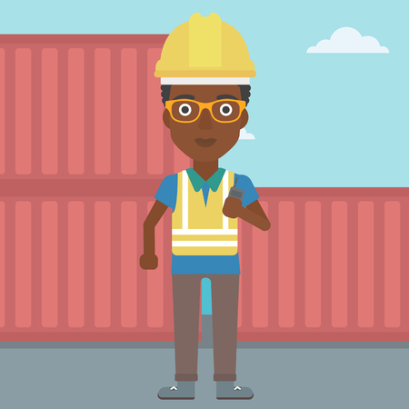 An african-american port worker talking on wireless radio. Port worker standing on cargo containers background. Woman using wireless radio. Vector flat design illustration. Square layout. Illustration