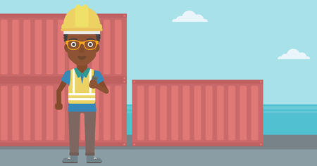 An african-american port worker talking on wireless radio. Port worker standing on cargo containers background. Woman using wireless radio. Vector flat design illustration. Horizontal layout. Stock Vector - 128543975