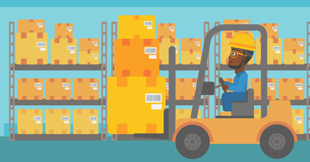 An african-american warehouse worker loading cardboard boxes. Forklift driver at work in storehouse. Warehouse worker driving forklift at warehouse. Vector flat design illustration. Horizontal layout. Ilustracja