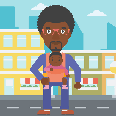 An african-american father carrying daughter in sling. Father with baby in sling walking in the city street. Young father carrying newborn in sling. Vector flat design illustration. Square layout.