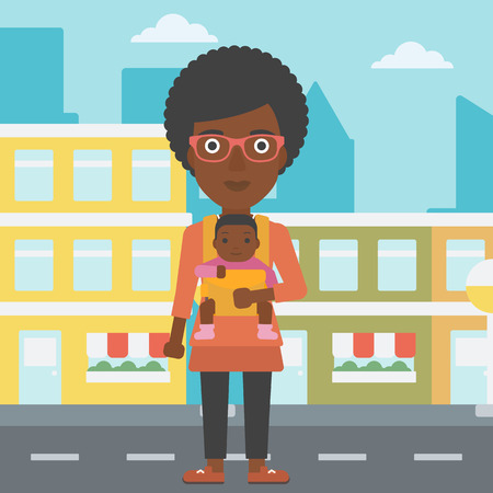 An african-american mother carrying son in sling. Mother with baby in sling walking in the city street. Young mother carrying a newborn in sling. Vector flat design illustration. Square layout. Ilustración de vector