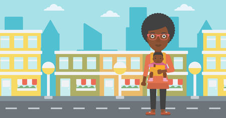 An african-american mother carrying son in sling. Mother with baby in sling walking in the city street. Young mother carrying a newborn in sling. Vector flat design illustration. Horizontal layout. Illustration