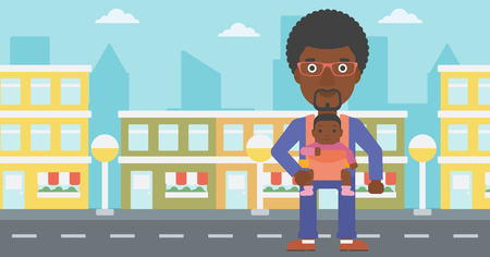 An african-american father carrying daughter in sling. Father with baby in sling walking in the city street. Young father carrying newborn in sling. Vector flat design illustration. Horizontal layout. Ilustración de vector