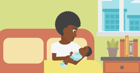 An african-american mother holding newborn in maternity ward. Mother nursing baby. Mother and infant resting at hospital. Happy mother with newborn. Vector flat design illustration. Horizontal layout.
