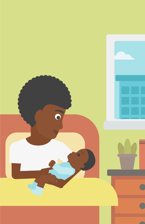 An african-american mother holding newborn in maternity ward. Mother nursing baby. Mother and infant resting at hospital. Happy mother with newborn. Vector flat design illustration. Vertical layout.