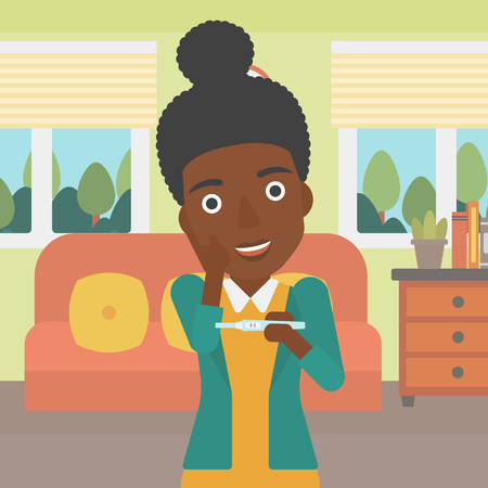 An african-american delighted woman looking at positive pregnancy test on the background of living room. Young woman checking pregnancy test. Vector flat design illustration. Square layout.